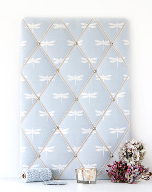 Dragonfly Notice Board - White On Sky - Meg Morton