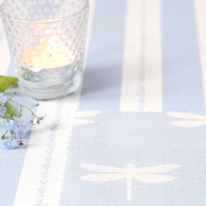 Dragonfly Linen Fabric - White On Sky - Meg Morton