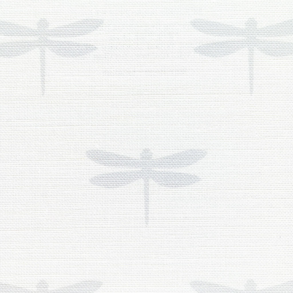 Dragonfly Linen Fabric - Pale Grey On White - Meg Morton