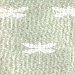 Dragonfly Linen Fabric - White On Soft Moss - Meg Morton