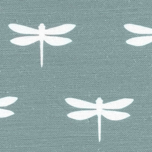 Dragonfly Linen Fabric - White On Soft Teal - Meg Morton