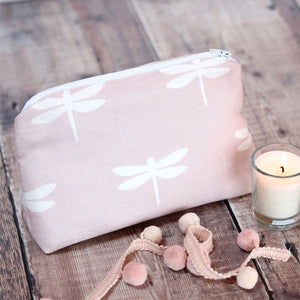 Dragonfly Make Up Bag - Vintage Pink - Meg Morton
