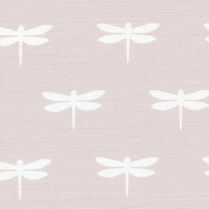 Dragonfly Linen Fabric - White On Vintage Pink - Meg Morton