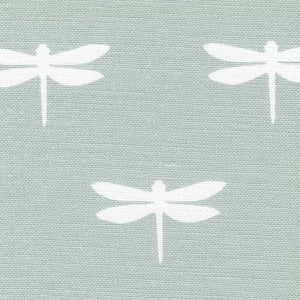 Dragonfly Linen Fabric - White On River Mist - Meg Morton