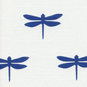 Dragonfly Linen Fabric - Durlston Blue On White - Meg Morton