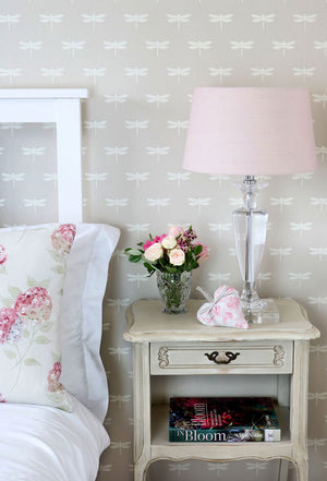 Dragonfly Wallpaper - White On Millstone - Meg Morton