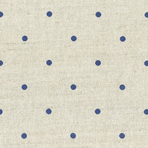 Country Dots Fabric - Durlston Blue On Pebble - Meg Morton