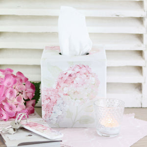 Faded Pink Hydrangea Fabric Covered Tissue Box - Meg Morton