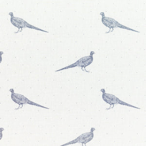 Fontmell Pheasant Linen Fabric - Flint On White - Meg Morton