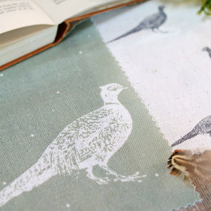 Large Fontmell Pheasant Linen Fabric - White On Lichen - Meg Morton