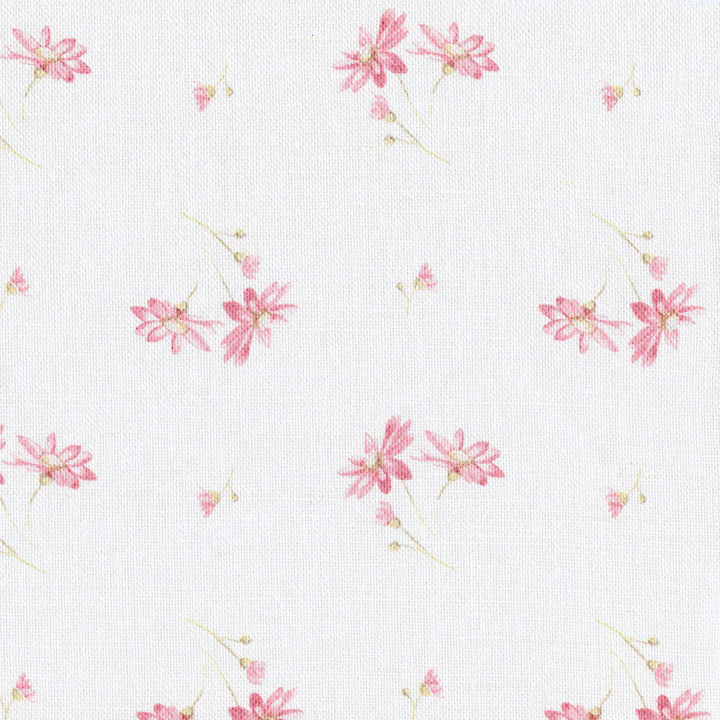 French Daisy Linen Fabric -Limoges Pink On White - Meg Morton