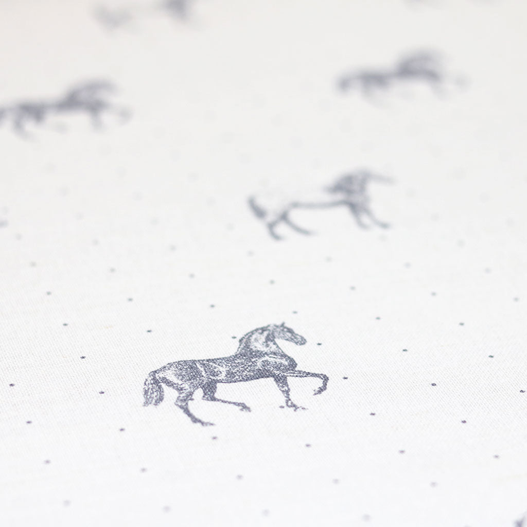 Country Horses Fabric - Dapple Grey On White - Meg Morton