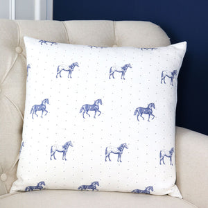 "Country Horses Cushion - Blue Roan 18"" x 18"" - Meg Morton"