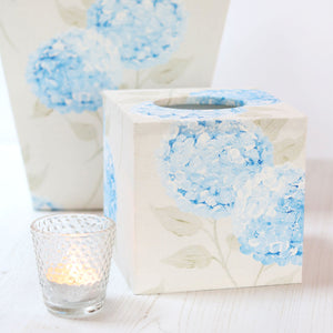 Hydrandea Paris Blue - Fabric Covered Tissue Box - Meg Morton