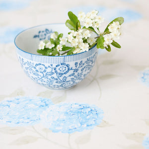 Hydrangea Linen Fabric - Paris Blue On Mist - Meg Morton