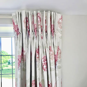 Large Hydrangea Linen Fabric - Pastel Pink On Mist - Meg Morton