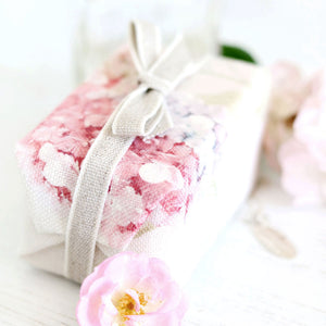 Fabric Covered French Soap - Hydrangea Pastel Pink