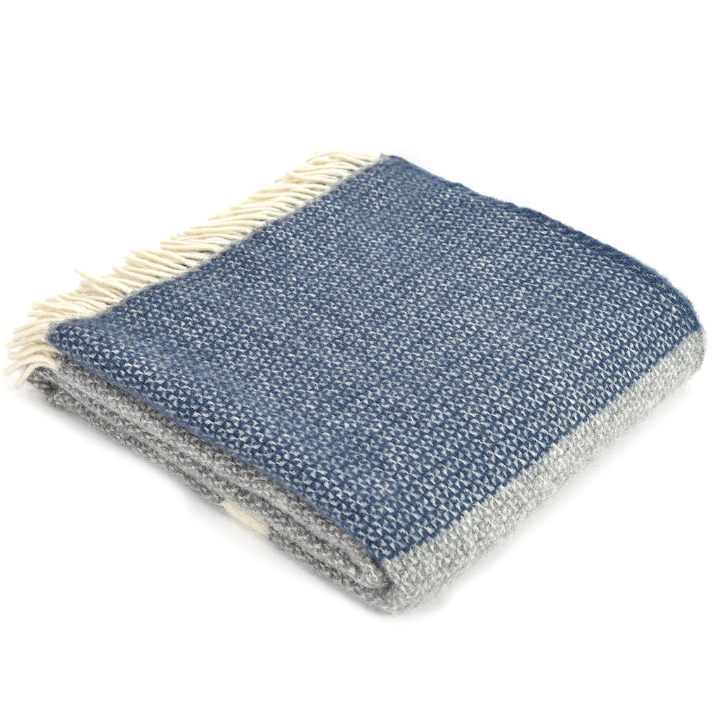 Navy Grey & Cream Broad Stripe Wool Throw - Meg Morton