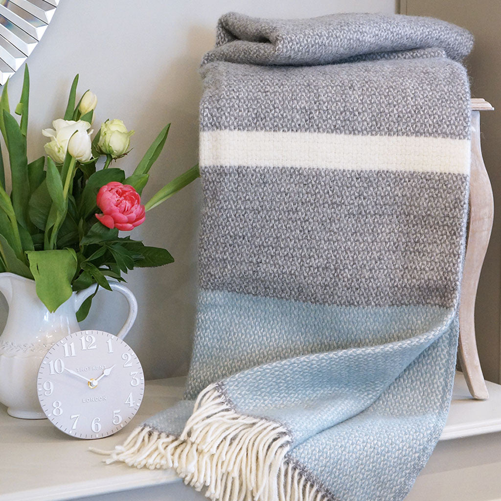 Duckegg & Grey Stripe Wool Throw - Meg Morton