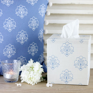 Jhansi Fabric Covered Tissue Box- Blue Shadow on Millstone