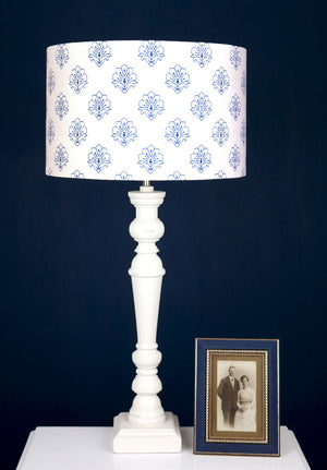 Jhansi Lampshade - Indian Blue On White
