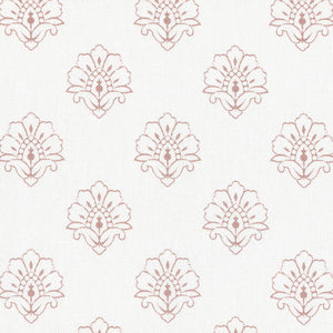 Jhansi Fabric - Dusky Pink On White - Meg Morton