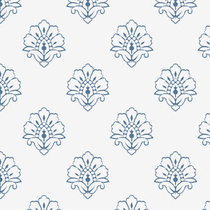 NEW Jhansi Wallpaper - Indian Blue On White
