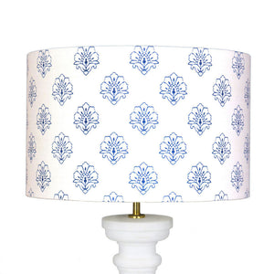 Jhansi Lampshade - Indian Blue On White - Meg Morton