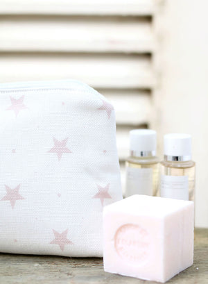 Starlight Pink On White - Make Up Bag - Meg Morton