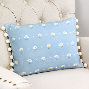 Meadow Daisy Rectangular Bobble Cushion - Summer Sky - Meg Morton