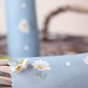 Meadow Daisy Linen Fabric - Deep Summer Sky - Meg Morton