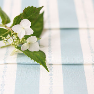 Faded Pearl Striped Linen Fabric - Aqua On White - Meg Morton