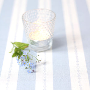 Faded Pearl Striped Linen Fabric - Sky On White - Meg Morton