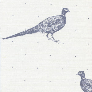 Large Fontmell Pheasant Linen Fabric - Flint On White - Meg Morton