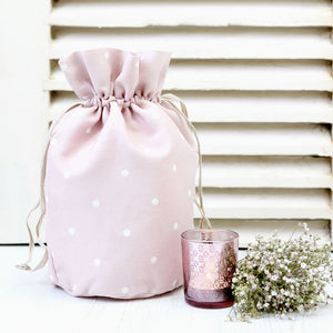 Country Dots Vintage Style Toiletry Bag - White On Vintage Pink - Meg Morton