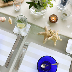 Sailing Stripe Tablemats - Salcombe Sand & White - Meg Morton