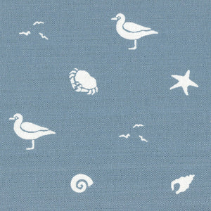 Sea Spray Linen Fabric - Harbour Blue - Meg Morton