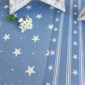 Starfall Fabric - White On Blue Shadow