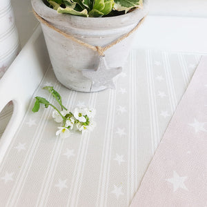 Starfall Fabric - White On Millstone - Meg Morton