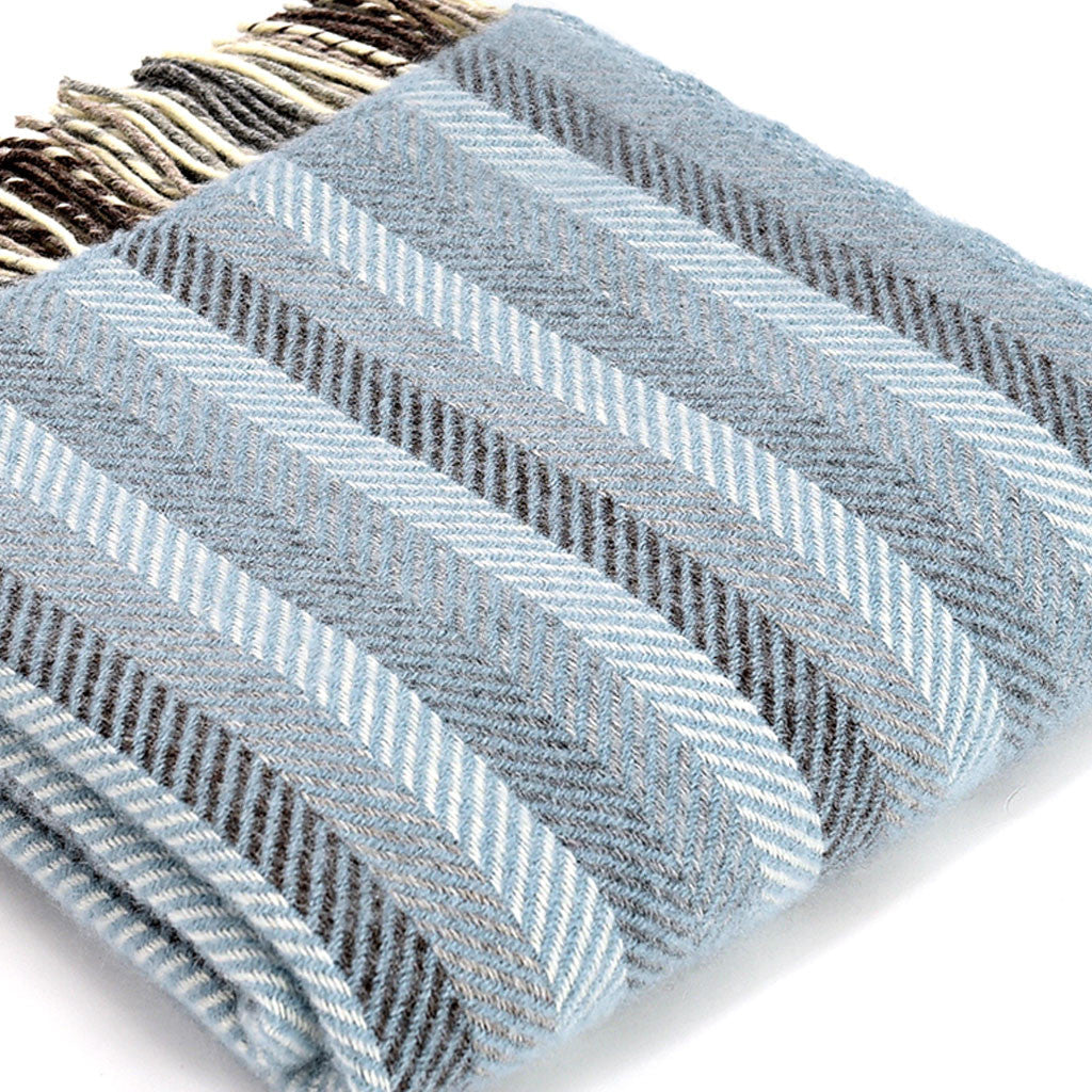 Duckegg & Grey Herringbone Stripe Wool Throw - Meg Morton