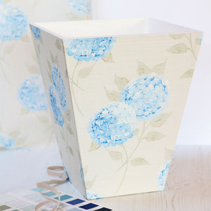 Fabric-covered Waste Paper Bin - Hydrangea Paris Blue - Meg Morton