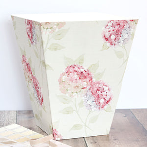 Fabric-covered Waste Paper Bin - Hydrangea Pastel Pink - Meg Morton