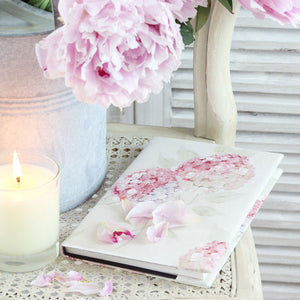 Pastel Pink Hydrangea Fabric Covered Notebook - Meg Morton