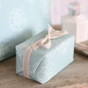 Fabric-covered French Soap - Whisper On Blue Haze - Meg Morton