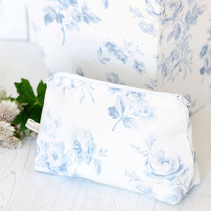Adelaine Blue On White - Make Up Bag - Meg Morton
