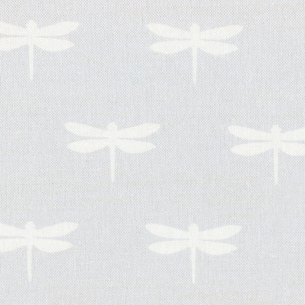 White Dragonfly On Pale Grey Linen