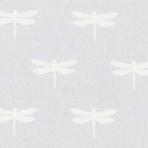 Dragonfly Linen-White On Pale Grey - Meg Morton