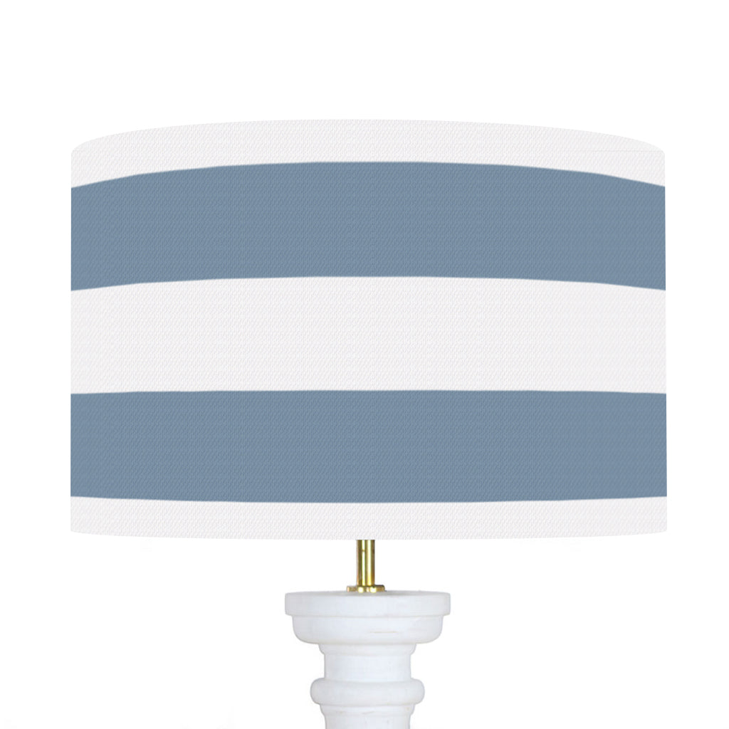 "Wide Stripe Piped Cushion - Harbour Blue 16"" x 16"""