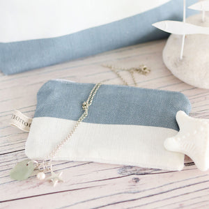 Fabric Purse - Wide Stripe Harbour Blue - Meg Morton