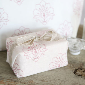 Fabric-covered French Soap - Jhansi Wild Rose On White - Meg Morton
